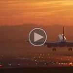 Sunset at Krakow Airport in 4K